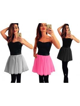 Gorsetowa mini sukienka z tiulową spódnicą