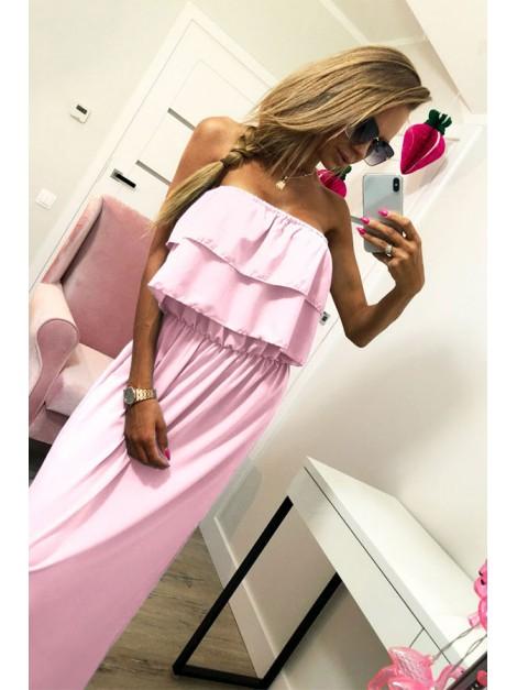Sukienka maxi z podwójną falbaną