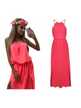 Neonowa sukienka maxi