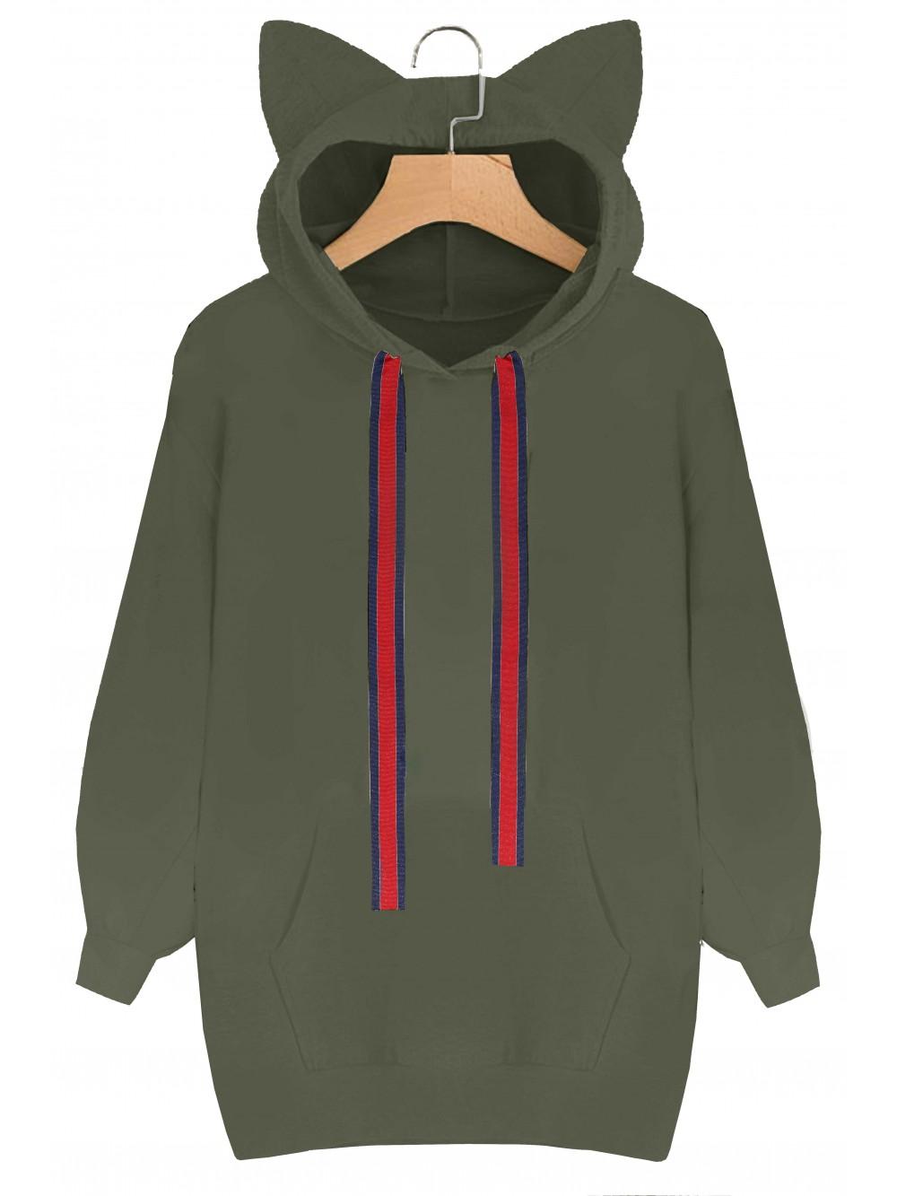 Bluza oversize z kapturem i kocimi uszami sklep z odzieżą