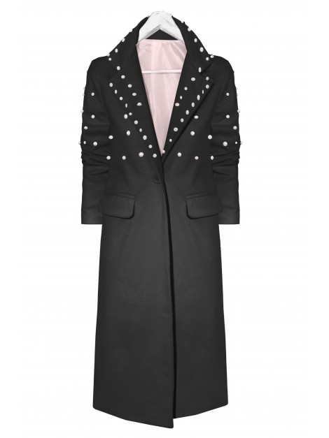 Długi, flauszowy płaszcz z perełkami